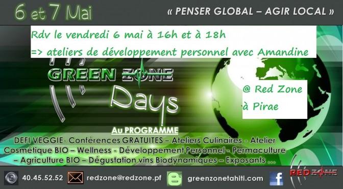 Participez aux ateliers de développement personnel vendredi 6 mai – Green Zone days